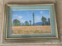 The Poppy Field by Claude Monet Framed Matted Print Distressed Silver Frame RARE