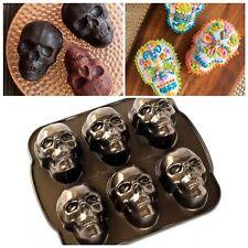 3 Cup Capacity Haunted Skull Mold Halloween Bakery Cakelet Brownie Cup Cake Pan