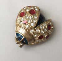 Vintage  signed Roman Ladybug Brooch Pin In Enamel & Gold tone Metal w/crystals
