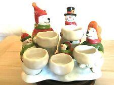 Yankee Candle Holiday Snowmen Polar Bear Penguin 5 Tealight Candleholder Euc