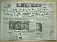 DAILY MAIL WWII NEWSPAPER FEBRUARY 1st 1943 STALINGRAD GERMAN ARMY WIPED OUT