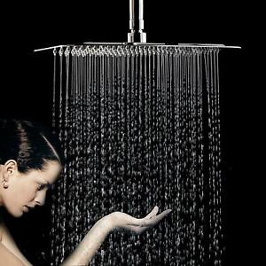 """Square Large 12"""" Chrome Stainless Steel Water Rainfall Overhead Bath Shower Head"""