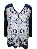Womens Chico's Size 3 XL Navy Blue Purple Paisley Linen 3/4 Sleeve Top Blouse