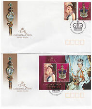 AUSTRALIA 2003 50TH ANN CORONATION PAIR & MINISHEET ON 2 x FIRST DAY COVERS