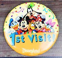 "Disneyland Resort Park 1st Visit 3"" Pin-Back Button -Collectible- *FREE SHIPPING"