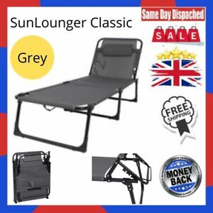 Reclining Flat Foldable Sunlounger Portable Sunbed with Handle Strap (Grey)
