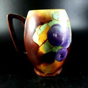 "Hand Painted Grape Motif Tankard Mug, Circa 1909, 5 1/2"" Tall, 2 1/2"" Diameter"