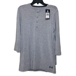 Under Armour Men's UA Recovery Ultra Comfort Gray  Henley Shirt Size 3XL L/S