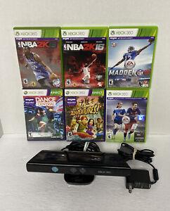 Xbox 360 Kinect Sensor Bar Bundle W Adapter Adventures Madden NBA 2k Fifa 16 Lot