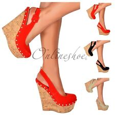 Womens Strappy Slingback Cork Wedge Platform High Heels Shoe Buckle Stud Size