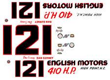 #12 / #121 Dan Gurney English Motors 1964 1/64th Ho Scale Slot Car Decals