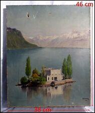 """Paysage des Alpes Suisses ? """"Maison Au Milieu d'Un Lac""""  Signée Vintriger 1912."""