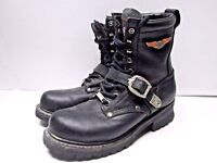 Harley Davidson women's Black Leather Lace Up Buckled Boots Sz 10