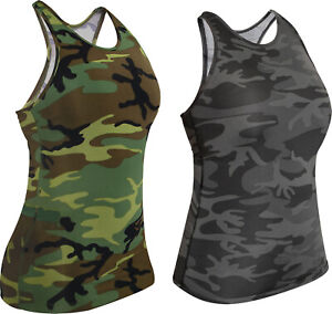 Womens Camo Military Tank Top Performance Sleeveless Athletic Gym Workout Yoga