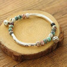 Womens Ethnic Ceramics Silver Plated Bangle Bracelet Beads Handmade Chain