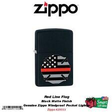 Zippo Red Line Flag Firefighter Pocket Lighter, Black Matte #29553