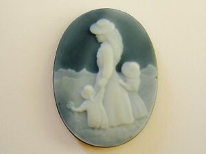 Cammeo Agata incisione ovale figura madre bambine Egret Cameo Agate Engraving