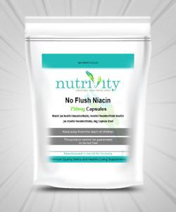 No Flush Niacin 750mg Veggie Capsules Nutrivity UK Energy, Metabolism, Fatigue