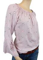 Bluse 38 40 42 S-M Flamingo rosa gestreift Made in Italy Volant Ärmel Baumwolle