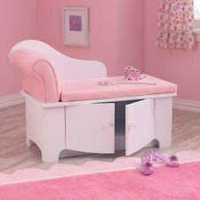 Girl's Room Storage Toy Box Organizer Princess Chaise Lounger Bench Chair Pink