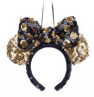 Disney Parks Minnie Black Gold Polka Dot Bow Headband Ears Holiday Ornament  NEW