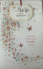 Wife 50th Birthday Card Fifty Today Age 50