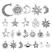 23 pcs Mixed Star Moon Sun Planet Charm Tibet Silver Pendant Bracelet Beads Lot