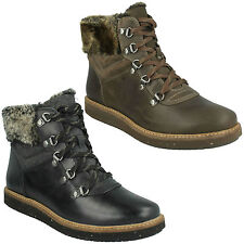Ladies Clarks Casual Lace up BOOTS Style - Glick Clarmont Black 6 UK D