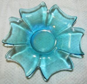 1 Blue Glass Votive Candle Holder Tea Light Tulip Shape