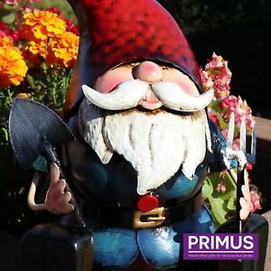 """Primus """"Ready to Dig"""" Hand Painted Metal Garden Gnome Ornament Quirky Gift Idea"""
