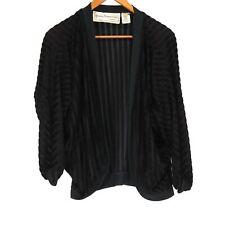 Young Edwardian by Arpeja Vintage Black Ribbed Sheer Cardigan - Size 7