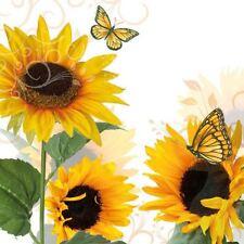 Girasol mariposas con relieve 33cmx33cm 33cm x 20 3 Capas Servilletas de papel