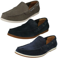 MENS CLARKS MORVEN SUN SLIP ON SUEDE LEATHER CASUAL LOAFERS SHOES SUMMER COMFORT