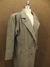 Vtg New York Girl Classy Look Herringbone Wool Long Winter Coat Womens Sz 10 EUC
