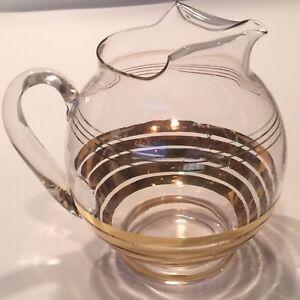 Vintage Mid Century Modern Retro Round Glass Water /Tea Pitcher Clear Gold Paint