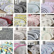 Shapes Geometric Single Duvet Cover Set Blue Yellow Grey - 2 Designs in 1