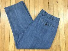Mens Orvis Blue Jeans Square Cut Pockets Suede Trim Denim Size 40 (40x27)