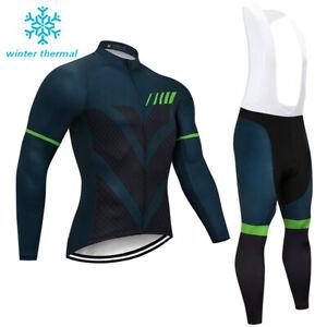 Men Winter Cycling Jersey Bib Pants Set Thermal Fleece Long Sleeve Bike Clothing