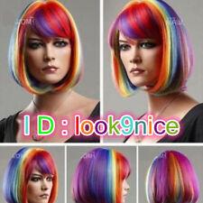 Hot Sales Short Bob Multicolor Rainbow Cosplay Wigs Wig Cap