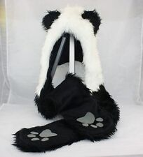 Stuffed Animal Women Men Children Kids Panda Hat with Long Paw Printed Mittens