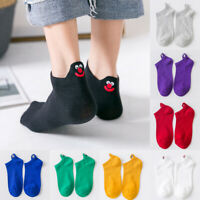Women Funny Cartoon Embroidered Candy Color Expression Short Ankle Socks Winter