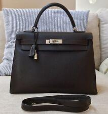 Authentic Hermes Chocolate Brown Sellier Kelly PHW 32cm Shoulder Bag