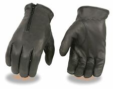 Men's Premium Unlined Leather Driving Glove With Top Hand Zipper Closure