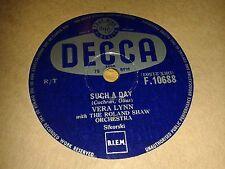VERA LYNN : SUCH A DAY  /  LAST LOVE.  UK.78rpm (1956)