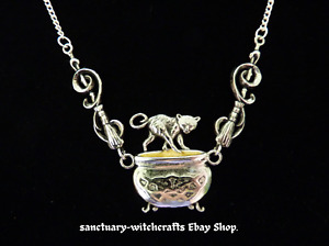 Cauldron Capers, Broomsticks, Cat & Cauldron Necklace. Witches' Familiars. Pagan