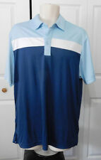C-BUK by CUTTER & BUCK Mens Blue White Colorblock Performance Polo Shirt Size M
