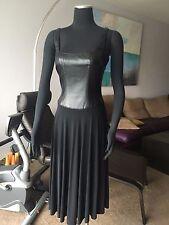 AUTH ESCADA LEATHER TOP OPEN BACK BLACK DRESS Sz 38 / S