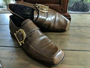 Vintage VOLARE  Genuine Soft Leather, Brown, Men's 9.5 B  Italian Loafers Monk