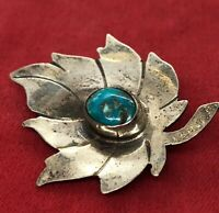 Vintage Sterling Silver Brooch Pin 925 Native American Turquoise Leaf Flower
