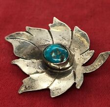 Vintage Sterling Silver Brooch Pin 925 Native American Turquoise Leaf Flower